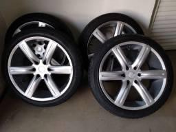Jogo de rodas 22 com pneus novos para l200 Triton