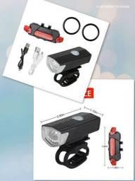 Kit lanterna recarregável aprova d'água para bike
