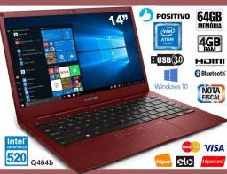 Notebook Positivo Motion Plus 4GB, HD 64GB, Tela de 14?, Novíss, Caixa, NF, Gar, Troco!