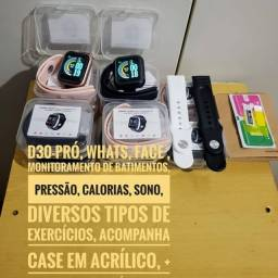 Smartwatch D30 pró- whats,batimentos,pressão,exercicíos,pulseira reserva+película+case