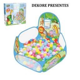 Piscina de Bolinhas Safari Infantil com cesta de basquete e 30 Bolinhas
