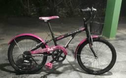 Bicicleta Aro 20 Caloi Linda Feminina 7 Marchas Barbie