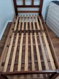 Cama de solteiro madeira gramado com colchão de mola