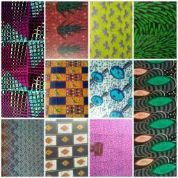 Kit c/ 8 retalhos de tecidos africano Ankara capulana