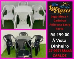 Cadeira Plástica Poltrona Extra Resistente + Mesa 70x70