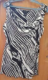 Título do anúncio: Blusa Social em Seda, com decote drapeado e corte enviesado