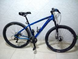 Bicicleta Aro 29 Nova, Suspensão dianteira, Freios a disco, Alumínio