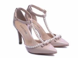Sapato Feminino Salto Alto Scarpin Verniz Rosê Torricella Mod. 66058A