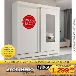 Roupeiro com Espelho 2 Portas Deslizantes 100% MDF Promoção!!!