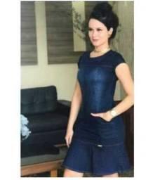 Vestido Jeans Moda Atual Combo 02 vestidos Tam.GG