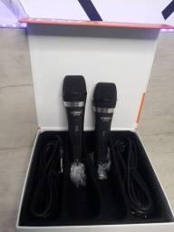 Microfone duplo profissional com fio 4m/ Preço Imbatível
