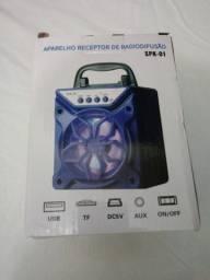 Caixa de Som Portátil Bluetooth entrada USB Cartão SD