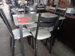 Jogo mesa 4 cadeiras tubolares. 1,00 x 0,60 L. Pçs novas