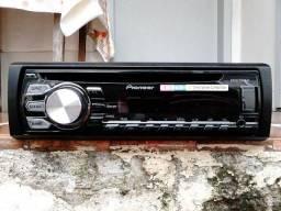 Aparelho Pioneer Mixtrax 2 cores, controlador de sub, 4 RCA, CD, USB, Auxiliar, rádio
