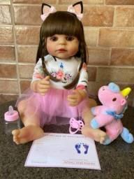 Linda boneca bebê Reborn realista toda em Silicone Nova Original 60 cm (aceito cartão)