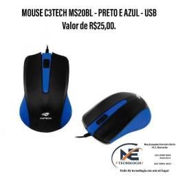 Mouse C3TECH - Preto e Azul
