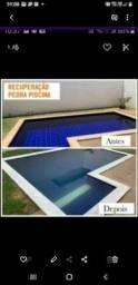 Limpeza de pisos e pedras naturais áreas de piscinas