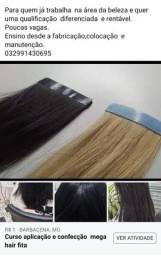 Curso de confecção  e colocação  de mega hair