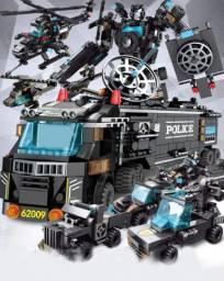 Blocos de montar Police 800 peças 35 montagens 8 bonecos