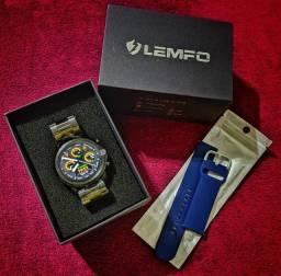 Smartwatch Lemfo Black com Pulseira em Aço + Pulseira Extra