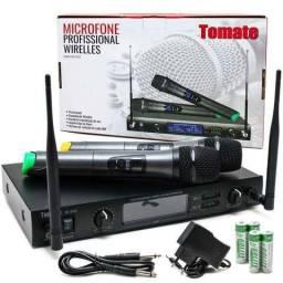 Microfone Sem Fio Duplo Wireless Uhf Digital Bivolt 50m 2202 Entregamos Pilhas AA