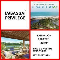 Imbassaí Privilege em Cond. fechado frente ao mar e rio- Bangalôs 3 suítes, 238,63m²