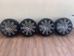 Rodas aro 22 5x114 Ruff Wheels Modelo 955 com pneus bons