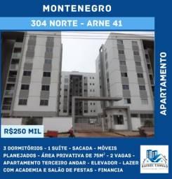 Apartamento - 3 dormitórios, uma suíte, sacada, com planejados, 2 vagas, 75m² - 304 NORTe