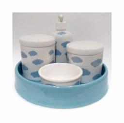 Kit Higiene Nuvens em Porcelana