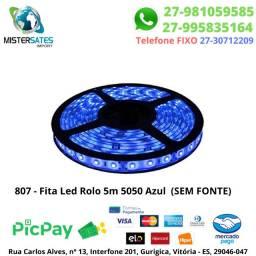 807 - Fita Led Rolo 5m 5050 Azul sem fonte