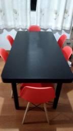 Mesa França 6 cadeiras Charles a Eles vermelha