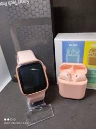 Smartwatch Iwo X7 Faz ligação, Brinde Fone bluetooth inpods 12