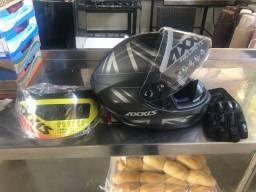 Título do anúncio: Vendo capacete axxis+nariguiera+viseira+luva tudo novo R$850