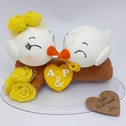 Topo Bolo Noivinhos Pombinhos Casamento Biscuit Personalizado