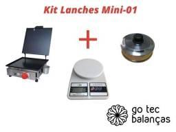 Título do anúncio: Kit Lanchonete Mini - Chapeira C/ Prensa + Balança + Abafador Profissional