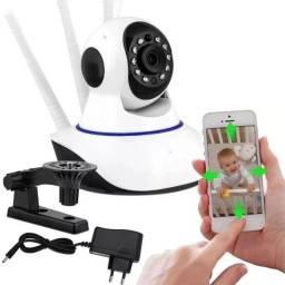 Camera Ip Wifi Segurança 3 Antenas Visão Noturna Com Voz