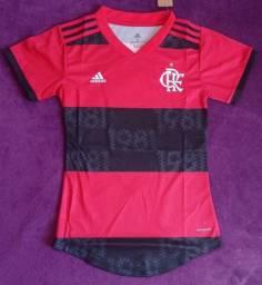 Camisa do Flamengo feminina 2021 (disponível: P e GG)