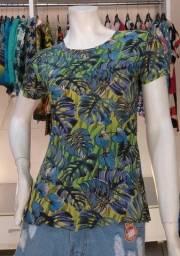 Blusa Verde com Folhas Tamanho M