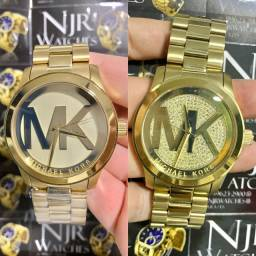 Relogio mk feminino banhado a ouro novo