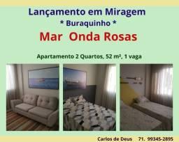 Mar Onda Rosas, 2 quartos, 52 m², 1 vaga, Loteamento Miragem , Buraquinho, Mega Lançamento