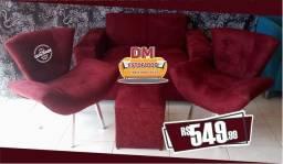 Lindo kit de sofá(vinho) por apenas 549,99