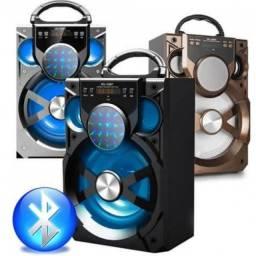 Caixa de som bluetooth potente com rádio, pen drive (Garantia)