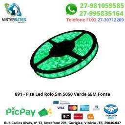 891 - Fita Led Rolo 5m 5050 Verde 5 mts SEM fonte