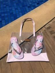 Kit chinelo  havaianas com bolsa de praia