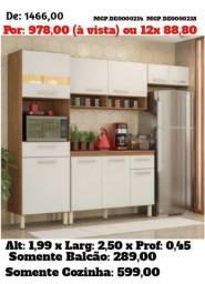 Armario de Cozinha- Cozinha Compactado com Balcão Lindissima- Super Promoção MS