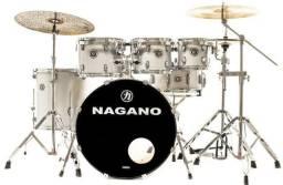 Bateria Nagano Garage Rock Grey Sparkle Completa Praticamente Nova Sem Detalhes!!!