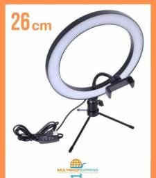 Iluminador Ring Light 26cm com Suporte de Celular e Mini Tripé