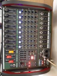 Mesa de som profissional mixer Briwax BP-6172, 8 canal