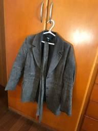 casaco couro legítimo TNG, tamanho P, marrom, pouco usado