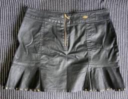 Saia jeans Resinada preta 38/M
